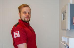 Bild på Andreaz Holm, gruppledare och brandskyddsansvarig på Sydsec